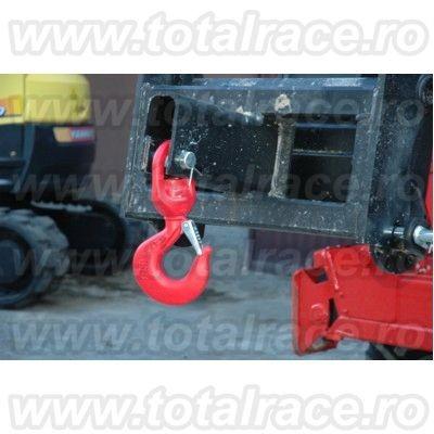 Carlig rotativ cu siguranta, din otel carbon sau aliat, vopsit, pentru instalatii de ridicat Total Race